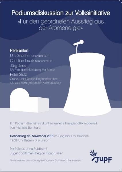 Podium Vortrag zur Abstimmung Geordneter Atomausstieg